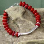 Red Bead Seed designer Silver Bracelet 1b