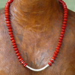 Red Bead Seed and Silver Necklace 1a