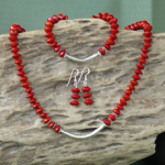 Red Bead Seeds (Adenanthera Pavonina) with designer silver, Necklace, Bracelet, Earrings Set 1d