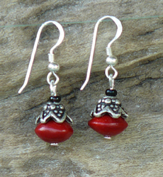 Red Bead Seed with antique Silver bead Earrings 16c