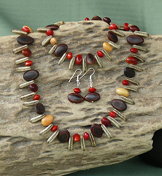 Erythrina, Milatto's Ear, Poinciana and Red Bead Seeds Necklace, Bracelet, Earrings Set 5d