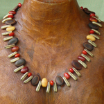 Poinciana, Milattos Ears, Erythrina and Red Bead Seeds Necklace 5a