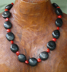 Mucuna Gigantia with Red Bead Seeds Necklace 2a
