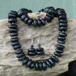 Mucuna Gigantea and Red Bead Seeds, Necklace, Bracelet, Earrings Set 2d