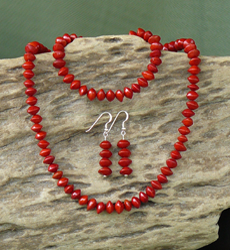 Red Bead Seed Necklace, Earrings Bracelet Set 17d
