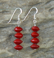 Red Bead Seed (Adenanthera Pavonina) Earrings 17c