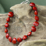 Red Bead Seeds with black glass beads, vertically drilled Bracelet 2b