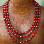 Leucaena and Red Bead seed Triple tier Necklace 21a
