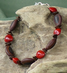 Leauceana, Milatto and Red Bead Seeds Bracelet 7b