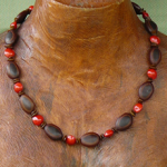 Milatto's ear and Red Bead Seeds Necklace 7a