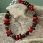 Lebbeck,Merremia,Raintree and Red Bead Seeds Bracelet 15b