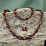 Milatto's Ear, Lebbeck,Raintree ,Merremia and Red Bead Seeds  Necklace, Bracelet, Earrings Set 15d