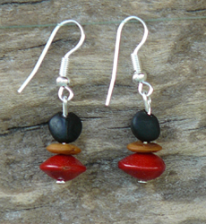 Merremia, Lebbeck and Red Bead seeds Earrings 15c