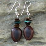 Malachite gemstones,Milatto's ear and Leucaena seed Earrings 4c