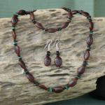 Malachite Gemstones with Milatto's Ear and Leucaena Seeds,Necklace, Bracelet,Earrings Set 4d
