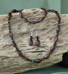 Malachite Gemstones with Milatto's Ear and Leucaena Seeds,Necklace, Bracelet,Earrings Set 4d
