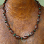 Milatto and Leucaena seeds with Malachite Gemstones Necklace 4a