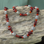 Bush Pearl Bonduc, Bats Wing and Red Bead Seeds Necklace and Bracelet Set 8d