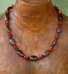 Milatto's ear,Merremia,Lebbeck and Red Bead Seeds Necklace 15a