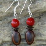 Milatto's ear and Red Bead Seed Earrings 7c