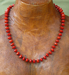 Red Bead Seeds (Adenanthera Pavonina) with black glass beads Necklace 12a