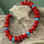 Red Bead Seeds with Turqouise Gemstones Bracelet 13b