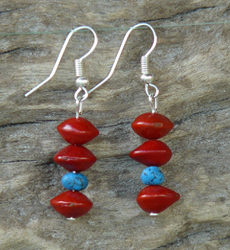 Red Bead Seeds with Turqouise Gemstones Earrings 13c