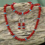 Turqouise Gemstones and Red Bead Seeds Necklace, Bracelet, Earrings Set 13d
