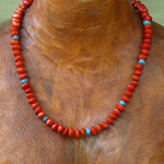 Red Bead Seeds and Turqouise Gemstones Necklace 13a