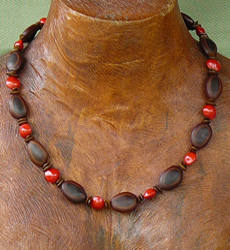 Milatto's ear and Red Bead Seeds Necklace #7a