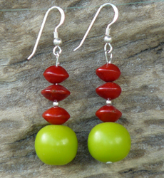Lime beads with Red Bead Seeds Earrings #65c