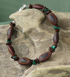 Malachite gemstones,Milatto's ear and Leucaena seeds Bracelet 4b