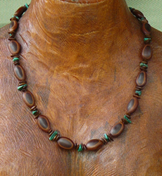 Milatto and Leucaena seeds with Malachite Gemstones Necklace 4a
