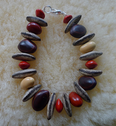 *NEW* Poinciana,Bats wing and Red Bead seed Bracelet #71b