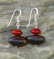 Milatto's Ear,Enterolobrium Cyclocarpum, and Red Bead Seed Earrings #5c