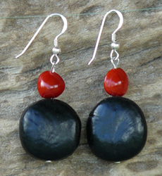 Mucuna Gigantea and Red Bead Seed Earrings 2c