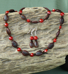 Milattos Ear,Leucaena and Red Bead Seeds Necklace, Bracelet, Earrings Set 7d