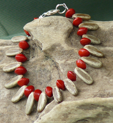 Poinciana, Delonix Regia, and Red Bead seeds Bracelet 19b
