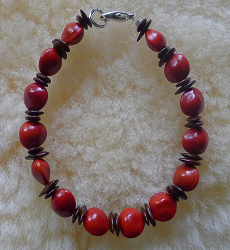 *NEW* Leucaena and Red Bead Seed Bracelet #30b