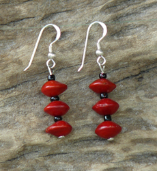 Red Bead Seeds (Adenanthera Pavonina) with black glass beads Earrings 12c