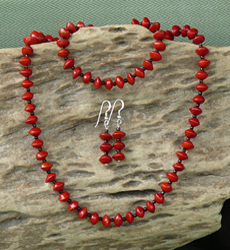 Red Bead Seeds with black glass beads Necklace, Bracelet, Earrings Set 12d