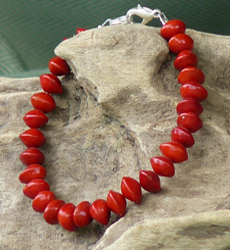 Red Bead Seeds, Adenanthera Pavonina, Bracelet 17b