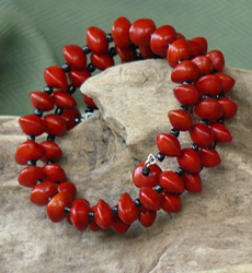 Red Bead Seeds and black glass beads, all size Bracelet Cuff 16b
