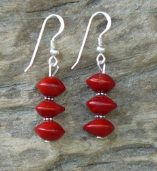 Red Bead Seed and Sterling Silver Earrings 1c