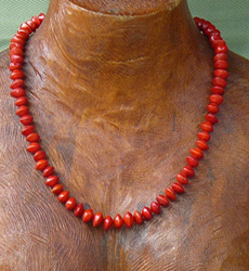 Red Bead Seed Necklace (Adenanthera Pavonina) Necklace 17a