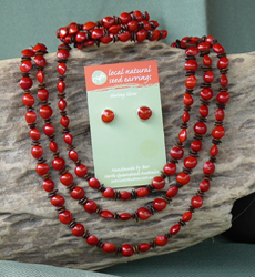 Leucaena and Red Bead Seed triple tier Necklace, all size Cuff Bracelet and Red Bead Seed Stud Earrings Set 21d