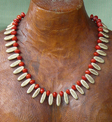Poinciana and Red Bead Seed Necklace 19a