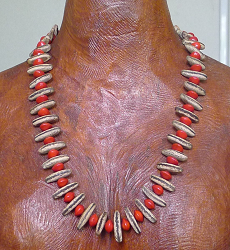 *NEW* Poinciana and Red Bead Seed Necklace #48a