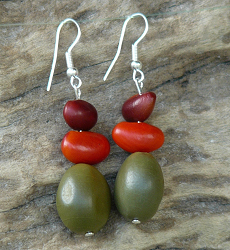 """Bush Pearls"" Bonduc and Bats Wing Seed Earrings #52c"