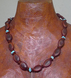 Turquoise with Milattos and Leucaena Seeds Necklace #56a